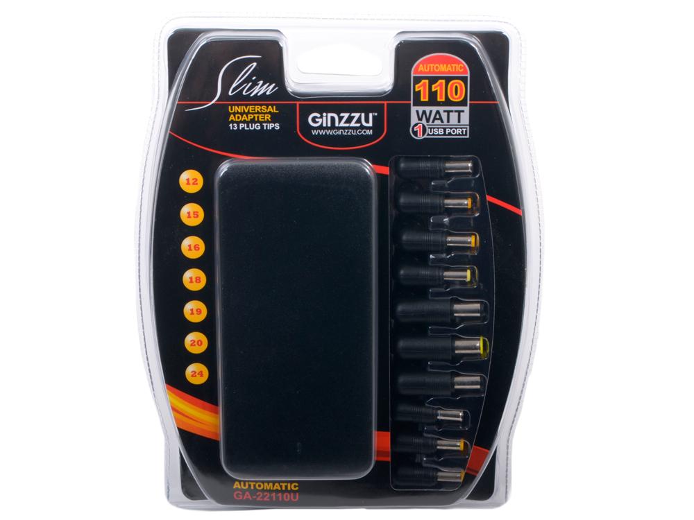Универсальный адаптер питания для ноутбуков GiNZZU GA-22110U (ультраслим, 110W, 1xUSB, 12V-24V, 13 DC-IN) универсальный адаптер питания для ноутбуков ginzzuga 10120u 120w 2xusb 12v 24v 9 dc in