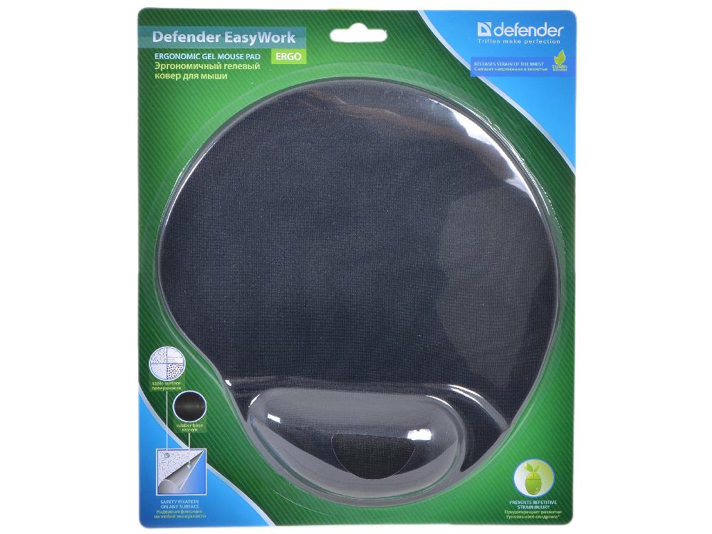 Коврик для мыши Defender гелевый Easy Work (черная лайкра) нескользящ.основа,260х225х5мм defender lota 15 16 черная ткань 26007