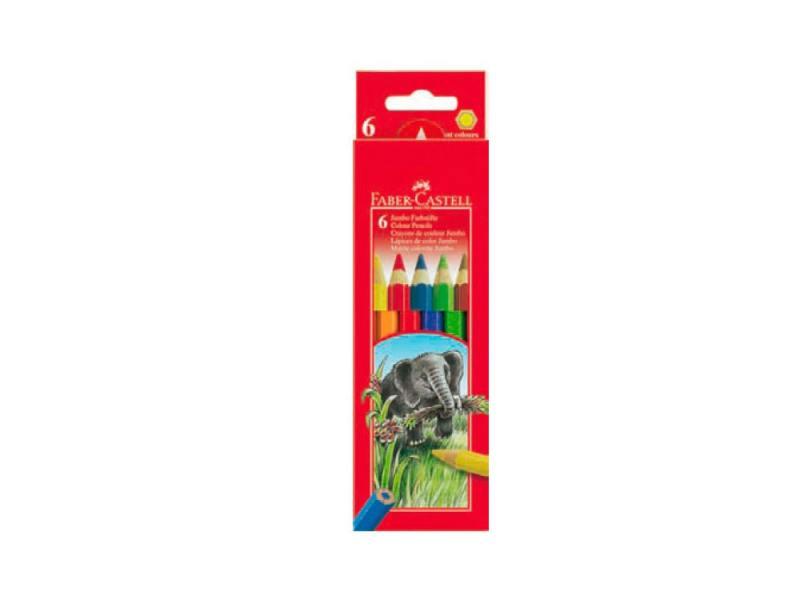 Карандаши цветные Faber-Castell Jumbo 6 цветов 111206 faber castell классические цветные карандаши 60 цветов цветные цвета карандаши окрашенные краски карандаши карандаши 115860 подарочный знак резина
