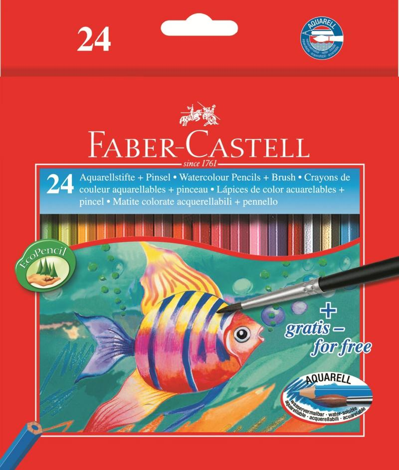 Карандаши акварельные Faber-Castell Colour Pencils 24 цвета кисточка 114425 faber castell 3 holes professional pencil sharpener for wood pencils painting supplies 1838