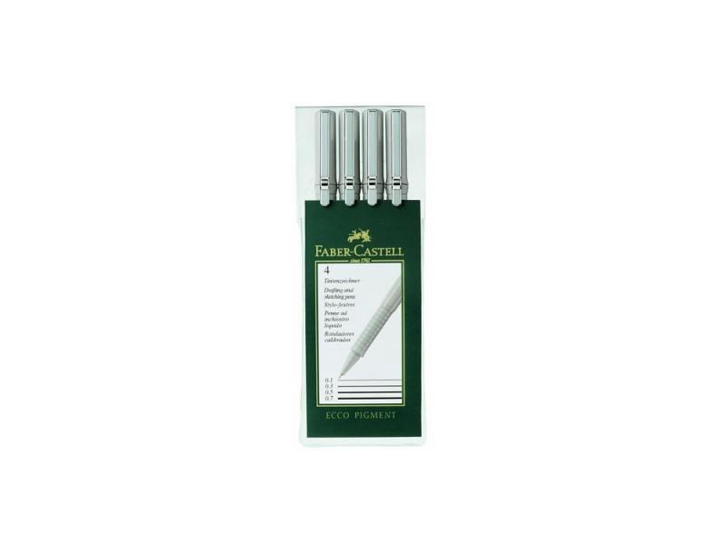Ручки капиллярные Faber-Castell Ecco Pigment в пластмассовом пенале 4шт 166004