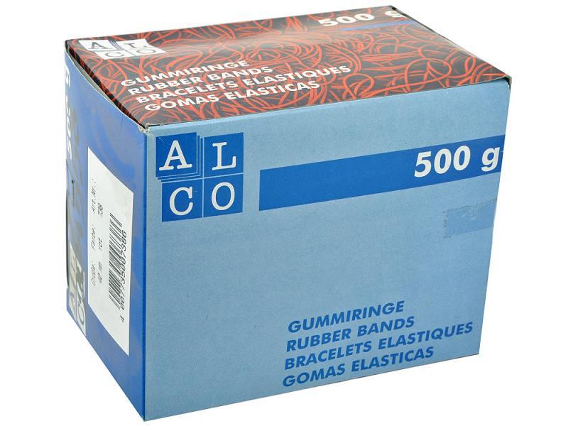 Резинки для купюр Alco диаметр 40 мм 500г красные в картонной упаковке резинки упаковочные alco 2768 1 х образные 150х11мм 100гр ассорти картонная коробка