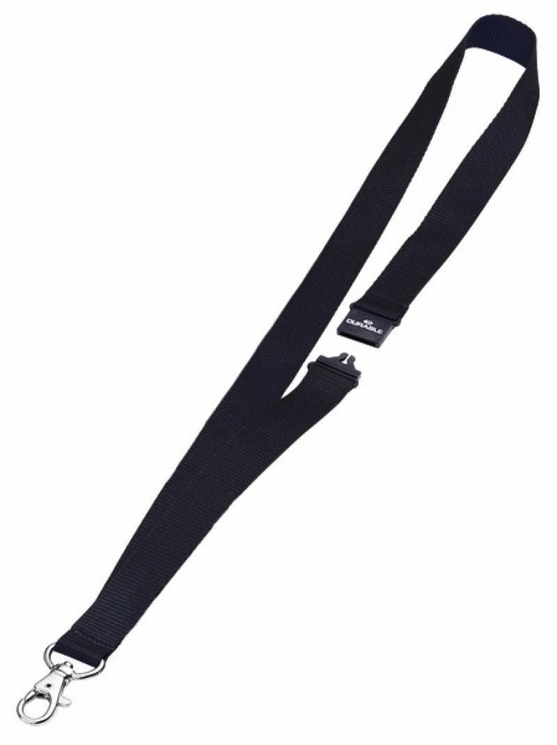 Шнур текстильный для бейджей Durable 44смx20мм с боковым замком и карабином с лого черный 10шт 81370