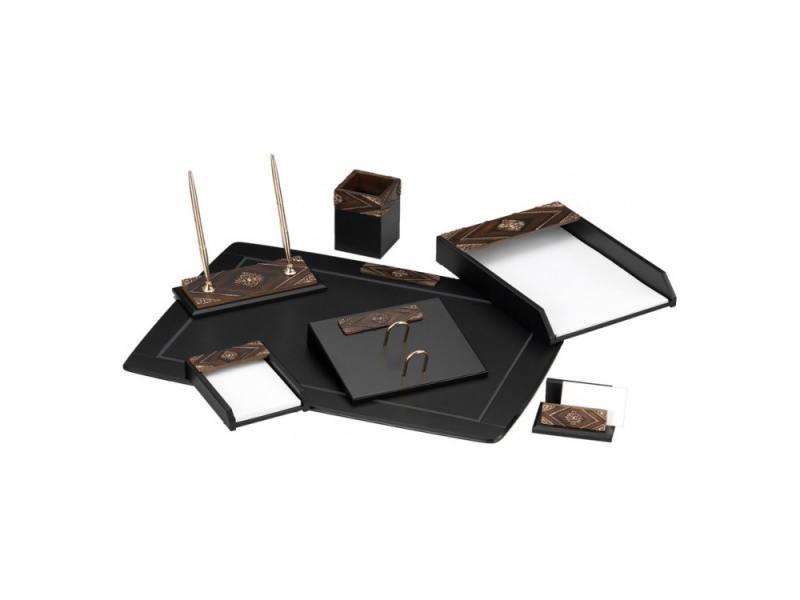 Настольный набор Good Sunrise 7 предметов МДФ/искуственный камень коричнево-черный W6AQ-1/C цена и фото