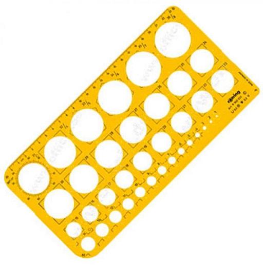 Шаблон чертежный Rotring Окружности 255x129x16мм масштаб 1:1 пластик прозрачный желтый S0221691 набор rotring centro 2 угольника 45° длина 36 см 30° 60° длина 41 см прозрачный пластик s0237900