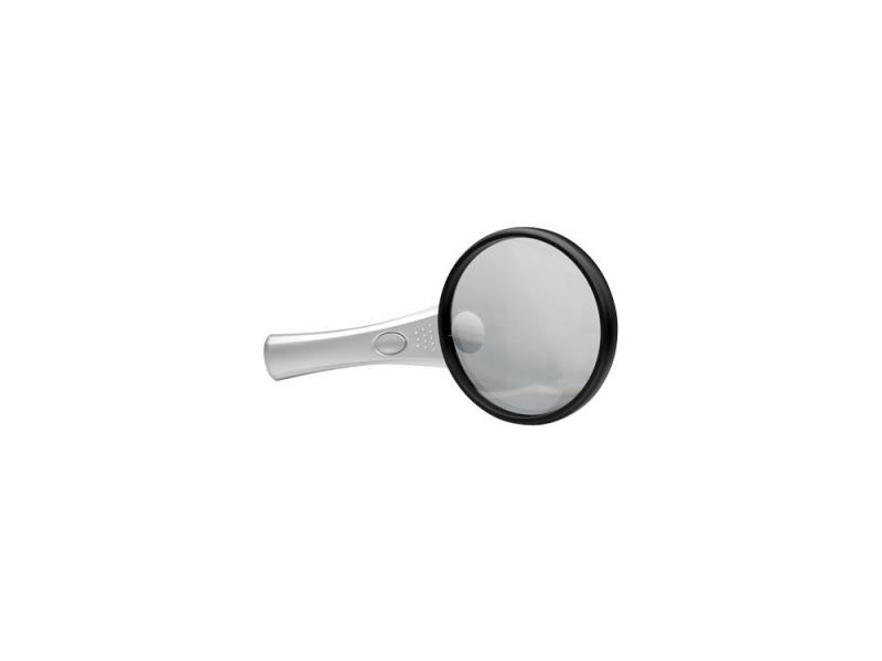 Лупа офисная Alco 1276 с подсветкой из 2 LED 88ммх2.5 и х4 стекло черная оправа ручка металл лупа kromatech 8 20d 90mm 2 led black white g288 090
