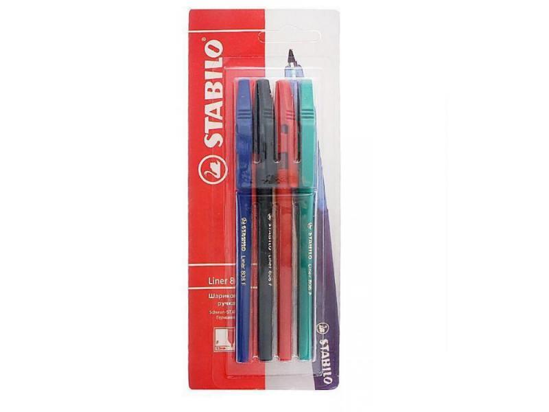 Stabilo Ручка шариковая Stabilo Liner в блистере 4цв..(син,черн.,красн,зел.) 808/4-1B