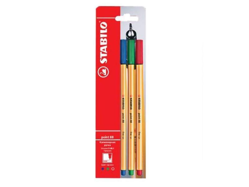 Stabilo Ручки капиллярные Stabilo Point в блистере  3 шт., цвет- синий, зеленый, красный 88/3-1B