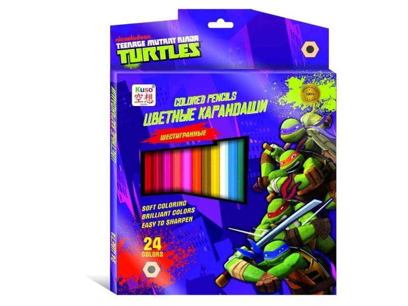 Цветные карандаши Kuso шестигранные Черепашки - ниндзя, 24 цвета K10004 kuso ластик черепашки ниндзя
