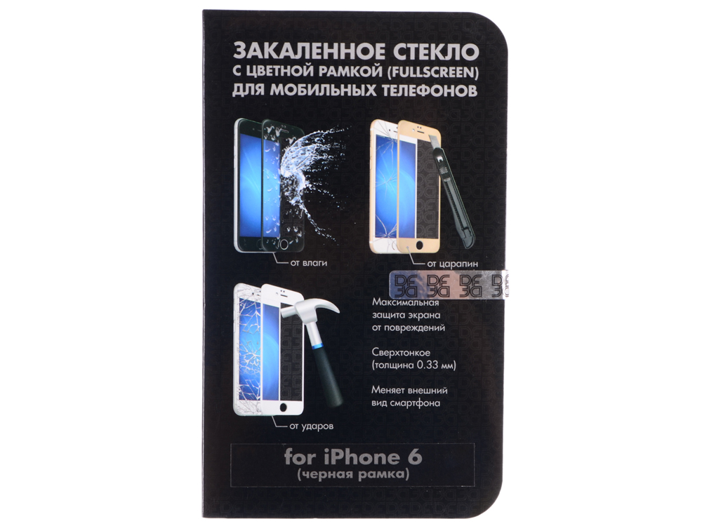 Защитное стекло для Apple iPhone 6 с цветной рамкой DFiColor-03(Black) caterpillar active signature для apple iphone 6 black
