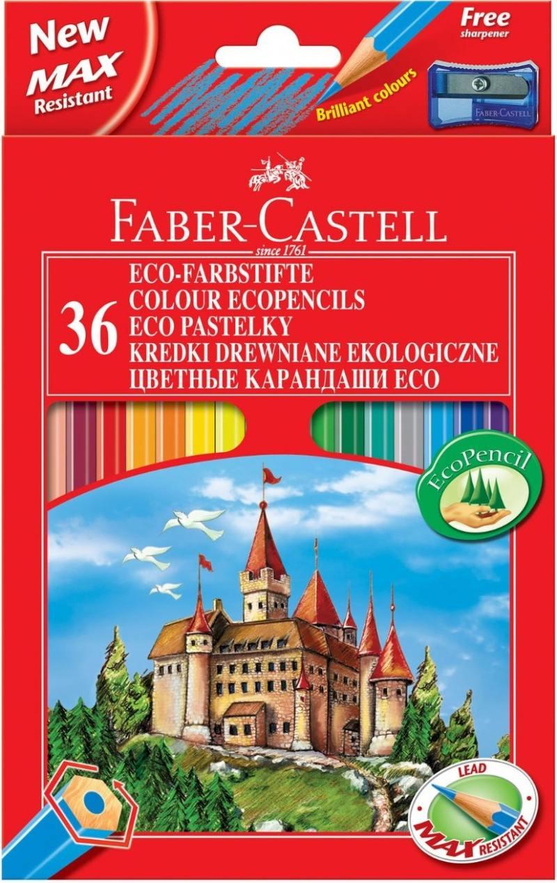 Карандаши цветные Faber-Castell Eco Замок 36 цветов точилка 120136 faber castell классические цветные карандаши 60 цветов цветные цвета карандаши окрашенные краски карандаши карандаши 115860 подарочный знак резина