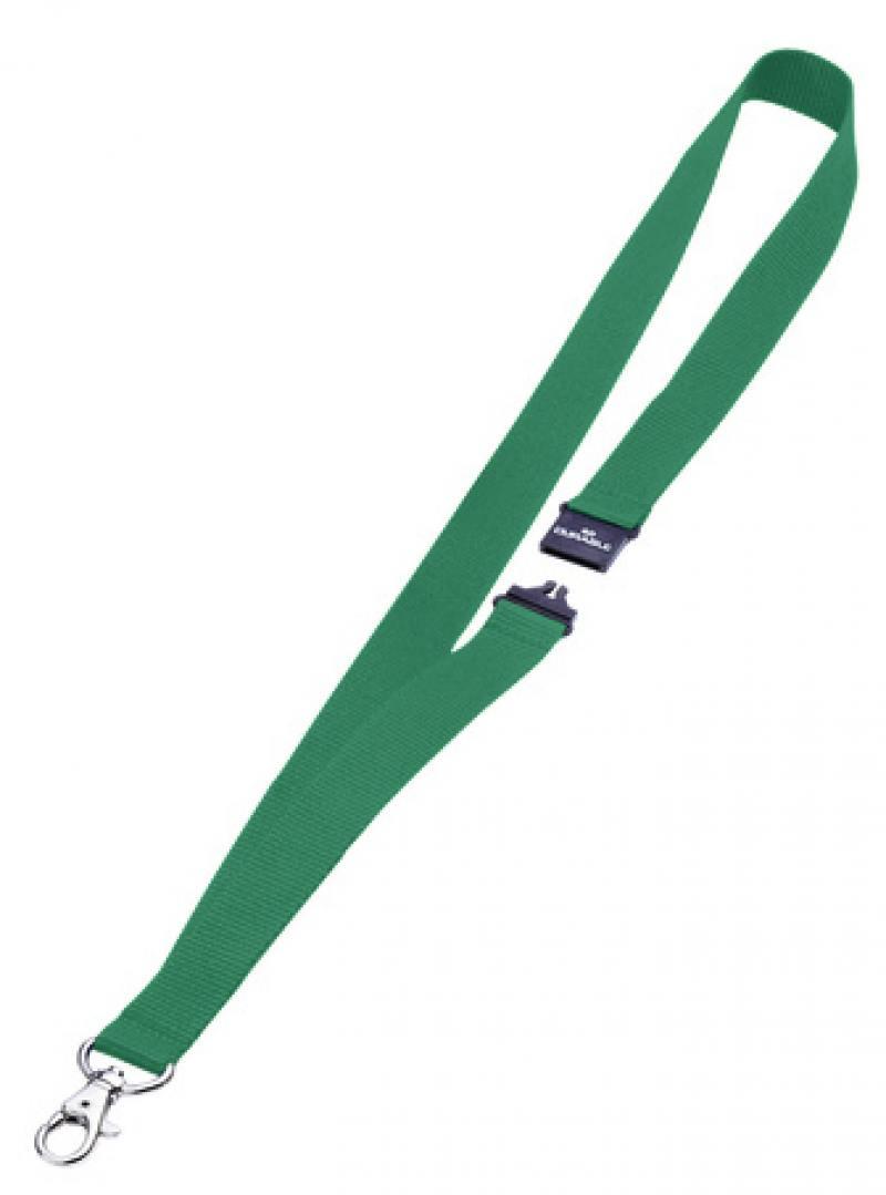 Шнур текстильный для бейджей Durable 44смх20мм с боковым замком и карабином зеленый 10шт 813705