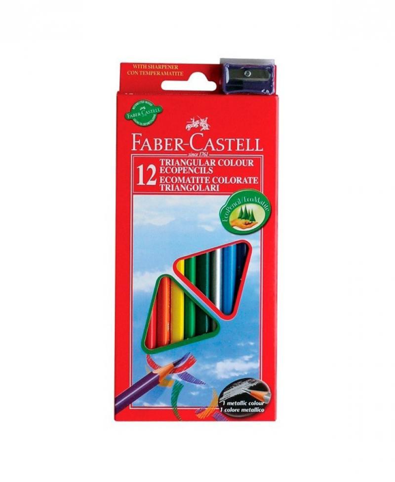 Карандаши цветные Faber-Castell Eco 12 цветов точилка 120523 faber castell faber castell карандаши цветные рыцарь в металлической коробке 12 цветов