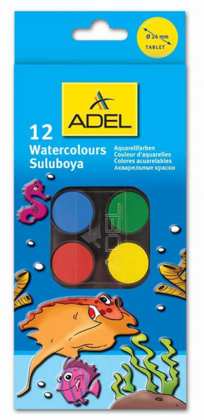 Краски акварельные Adel 24мм 12 цветов 229-0933-000 конверт детский kaiser kaiser конверт iglu thermo fleece черный серый
