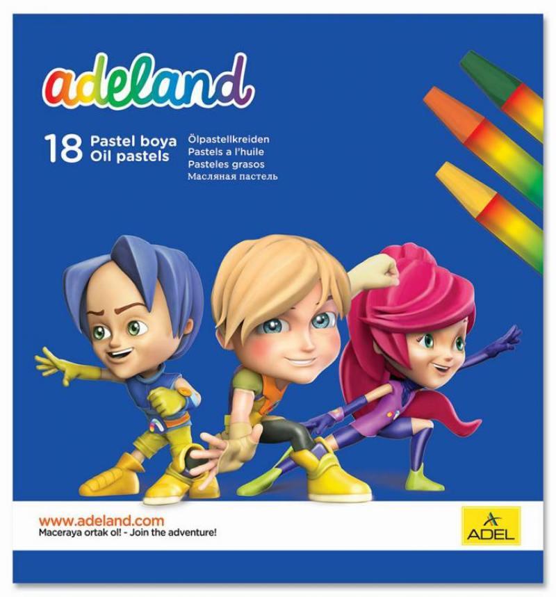 Мелки восковые Adel ADELAND шестиугольные 11.5мм 18 цветов 428-0857-100 пифагор восковые мелки 18 цветов
