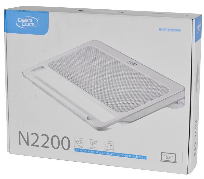 """Теплоотводящая подставка под ноутбук DeepCool N2200 (до 15,6"""", x140мм вентилятор, серебристый, резин.вставки, 2 USB)"""