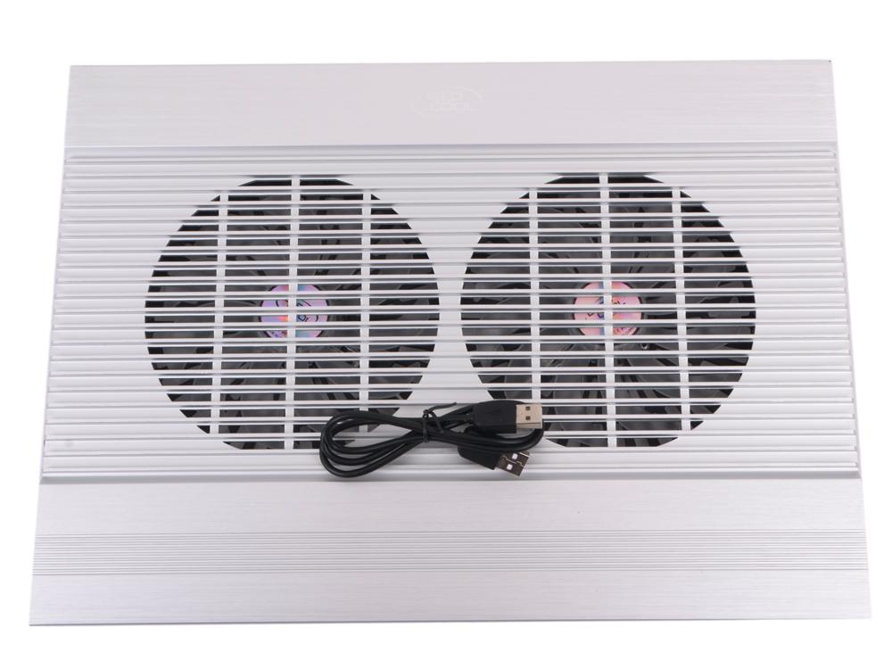 "Теплоотводящая подставка под ноутбук Deepcool N8 17"" 380x278x55mm 25dB 4xUSB 1244g Silver aluminum"