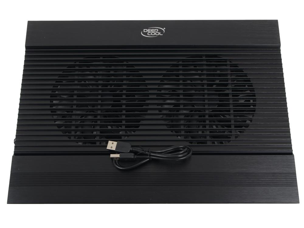 """Теплоотводящая подставка под ноутбук DeepCool N8 BLACK (до 17"""", вентилятор 2x140мм, алюминий, черный, 2USB )"""