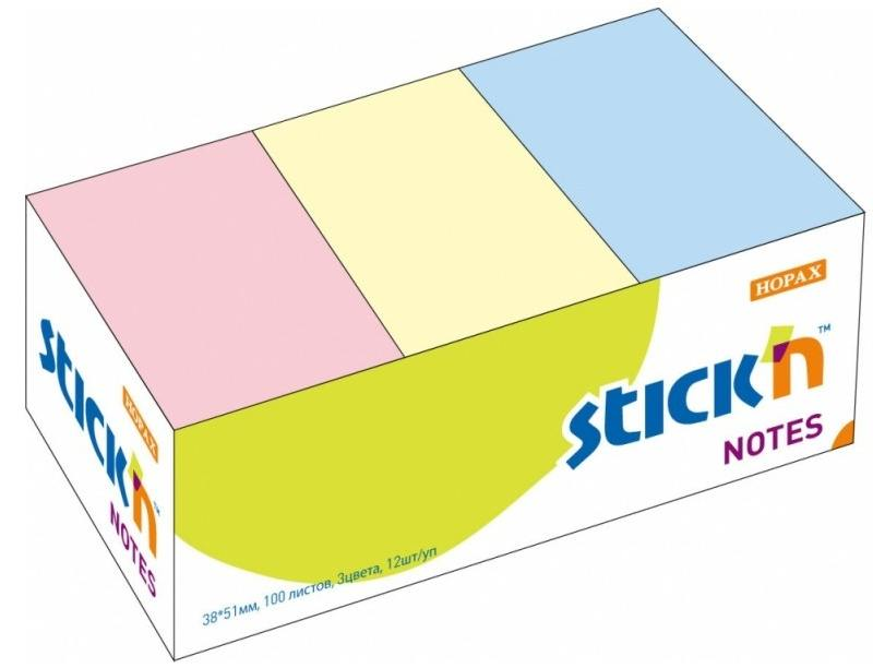Самоклеящийся блок STICK'N, HOPAX 38*51 100л ассорти 3цв 21004