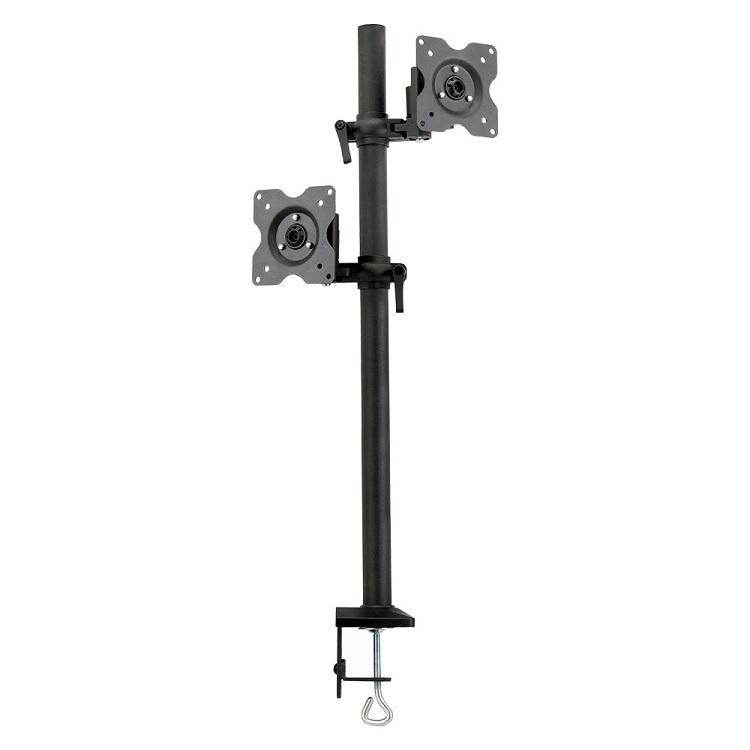 Настольный наклонно-поворотный кронштейн Kromax OFFICE-5, для 2-х LCD мониторов 13-32, 5 ст. свободы, 3D вращение, VESA 75/100, max 2х6 кг GREY kromax office 3 10 26 до 2x12кг vesa до 100x100 серый для двух мониторов