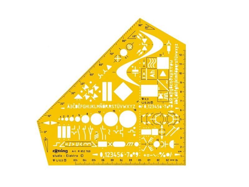 Шаблон электроинжинерный Rotring Studio пластик желтый S0238591 цена и фото