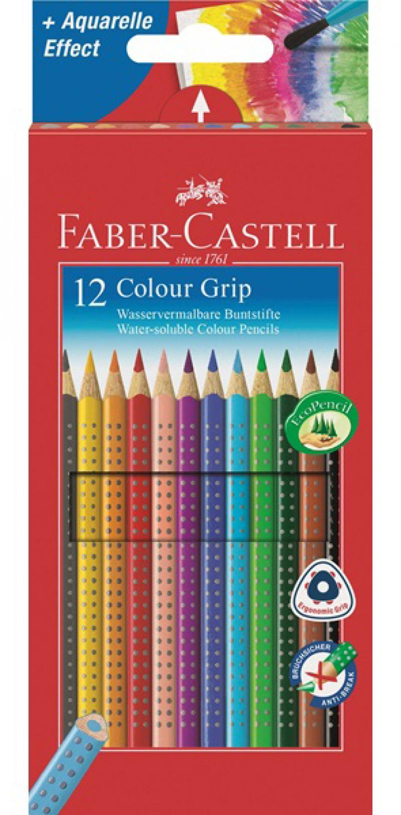 Карандаши цветные Faber-Castell Grip 2001 12 шт 112412 карандаши цветные faber castell jumbo grip 110906 трехгран 6цв карт кор
