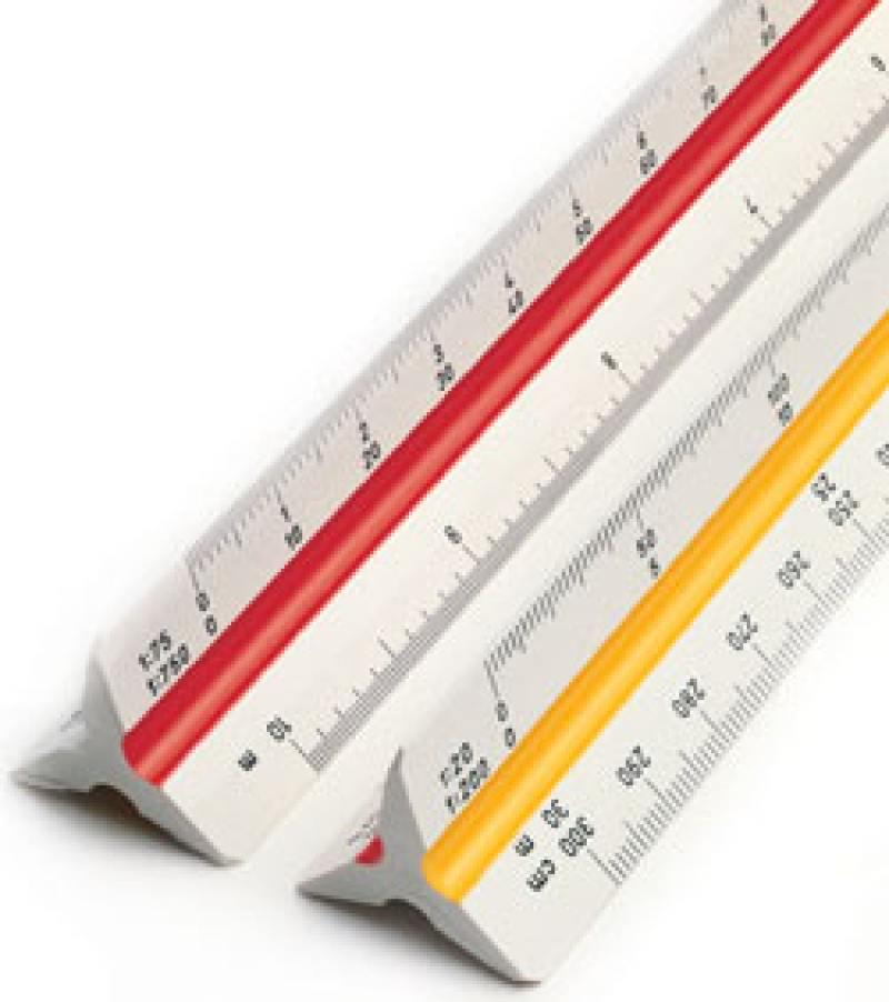Линейка Rotring Centro Architect трехгранная шкала длина 30см S0220641 набор rotring centro 2 угольника 45° длина 36 см 30° 60° длина 41 см прозрачный пластик s0237900