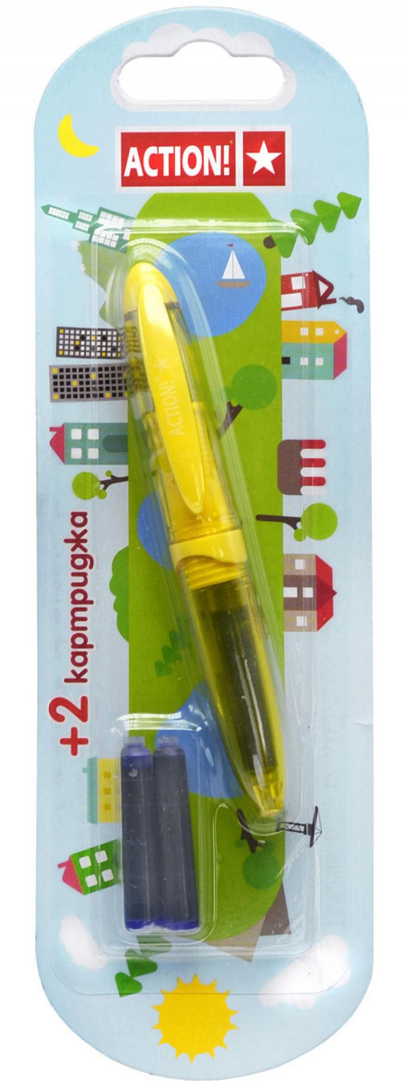 Перьевая ручка ACTION!, резин. упор, син. чернила, 2 картриджа в комплекте