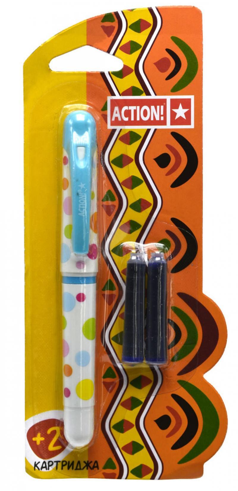 Перьевая ручка ACTION!, син. чернила, 2 картриджа в комплекте, блистер ручка шариковая flair air balance син в блистере f 872 син