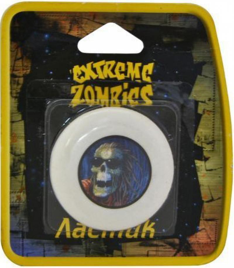 Картинка для Ластик Extreme Zombie круглый, белый с цветной печатью, блистер, 4 вида