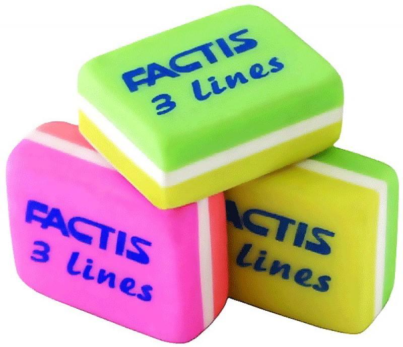 Ластик FACTIS 3-х цветной, размер 30х23,5х12,5 мм, ассорти резинки упаковочные alco 2768 1 х образные 150х11мм 0 1кг ассорти