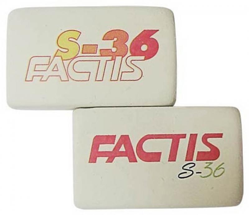 Ластик FACTIS мягкий из натурального каучука с цветной надписью, размер 39,5х23,5х13,5 мм