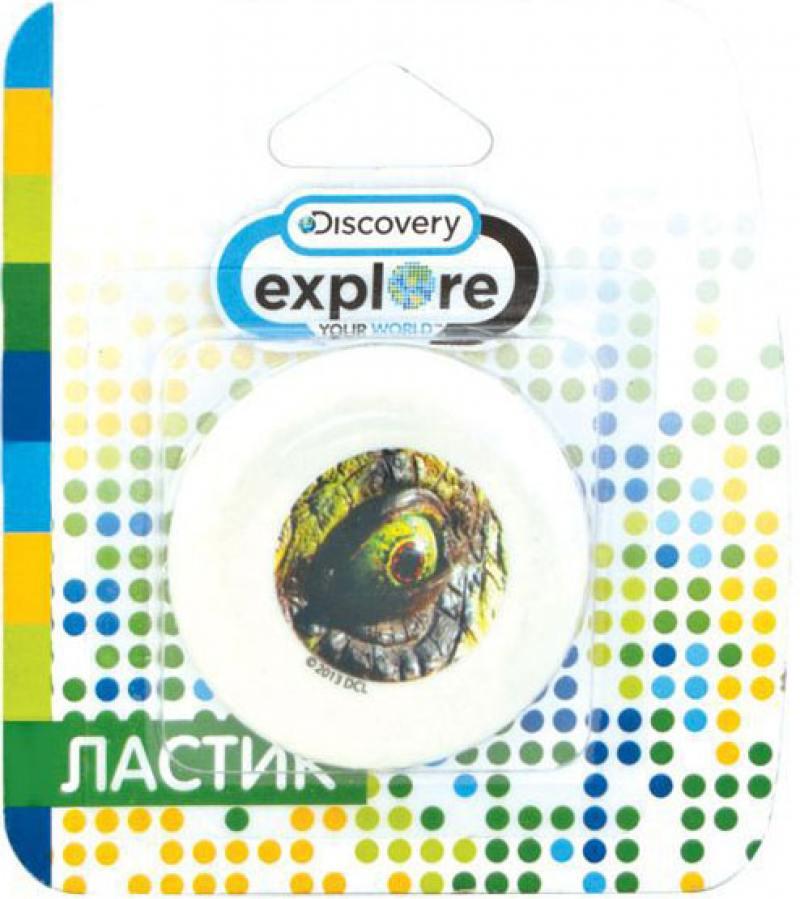 Ластик ACTION! Discovery круглый, белый с цветной печатью, блистер, 4 вида