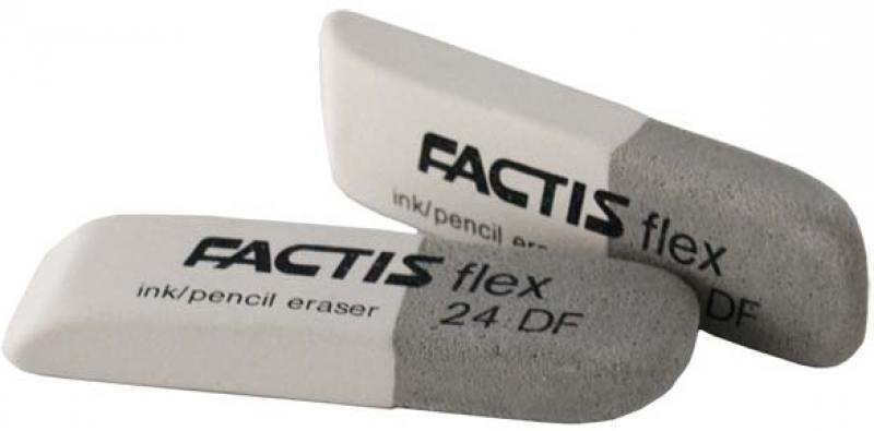 Ластик Factis комбинированный, для грифеля и чернил, из натурального каучука, размер 74х20х10 мм
