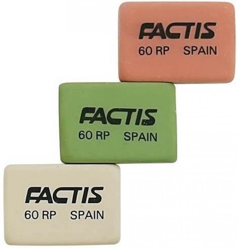 Ластик FACTIS мягкий из натурального каучука, размер 28,2х19,5х9,5 мм, цвета: роз.бел.зел.