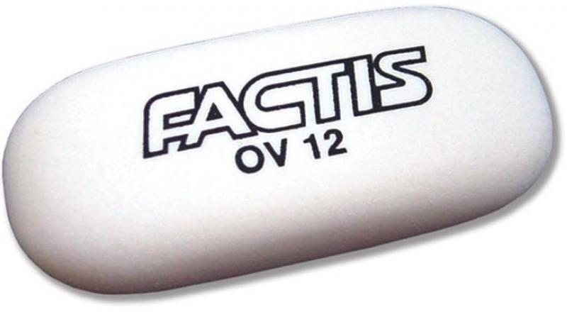 Ластик Factis мягкий овальный, из синтетического каучука, размер 62х28х12,5 мм