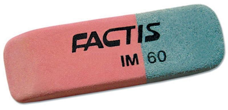 все цены на Ластик FACTIS комбинированный, для грифеля и чернил, из натурального каучука, размер 45х14,5х7,5 мм онлайн
