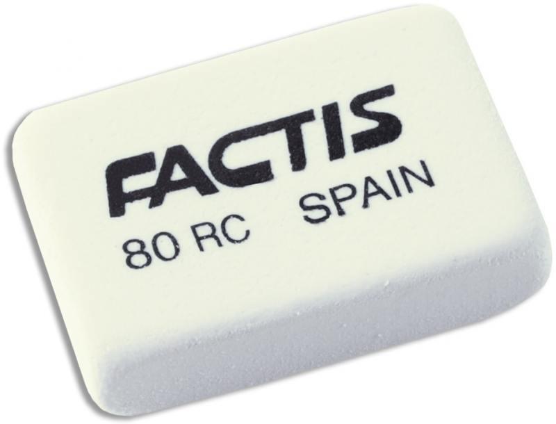 Ластик FACTIS мягкий из натурального каучука, размер 30х20х7,5 мм
