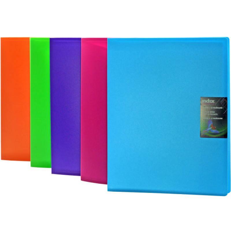 Папка с 40 файлами COLOURPLAY, ф.A4, 0,8мм, прозрачная, ассорти точилка index ish001 пластик ассорти