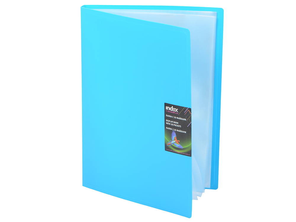 Папка с 30 файлами COLOURPLAY, ф.A4, 0,8мм, прозрачная, ассорти точилка index ish001 пластик ассорти