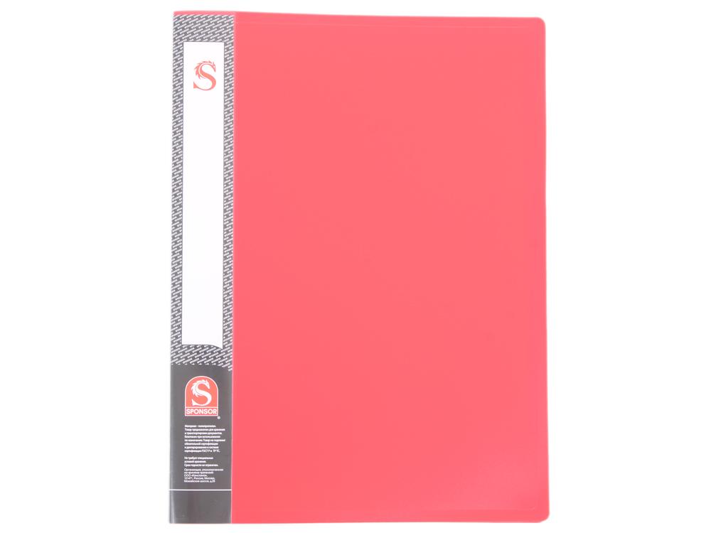 Папка с 20 файлами, форзац, ф.А4, красная