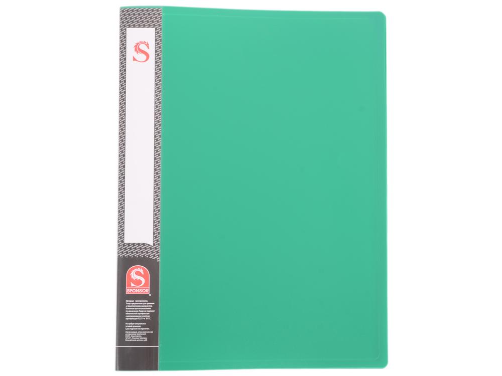 Папка с 20 файлами, форзац, ф.А4, зеленая