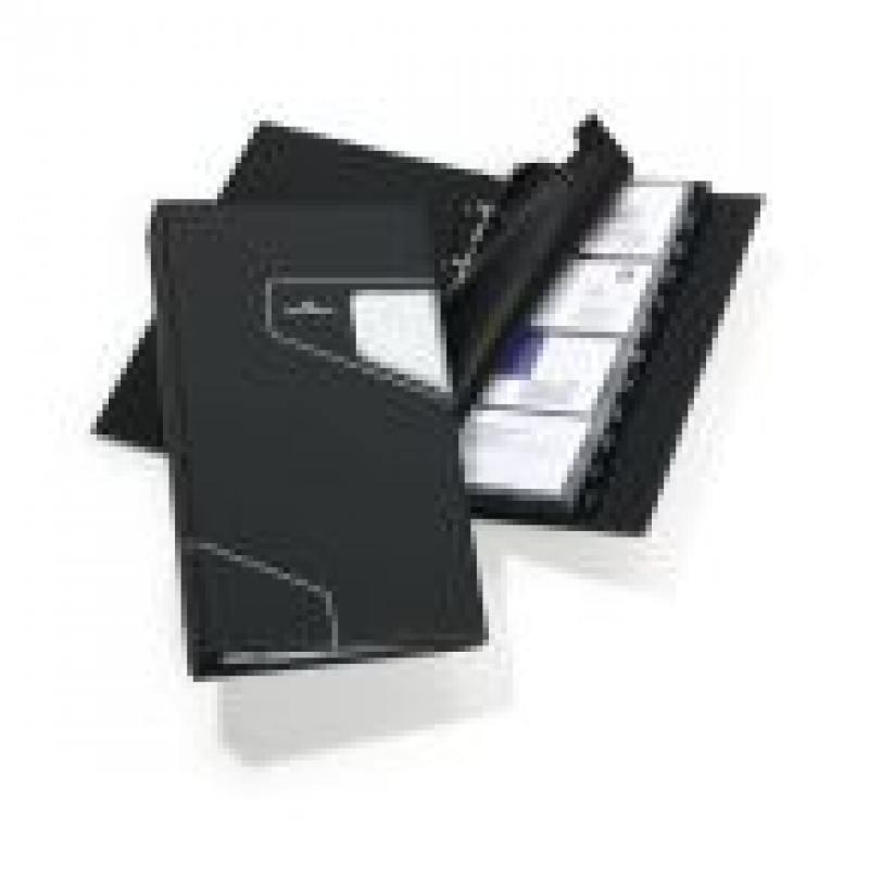 Визитница VISIFIX PRO на 200 визиток, пластик стилизованная обложка, размер 25,5х14,5 см, антрацит визитница durable visifix 2385 58 переносная для 200 визиток темно серый