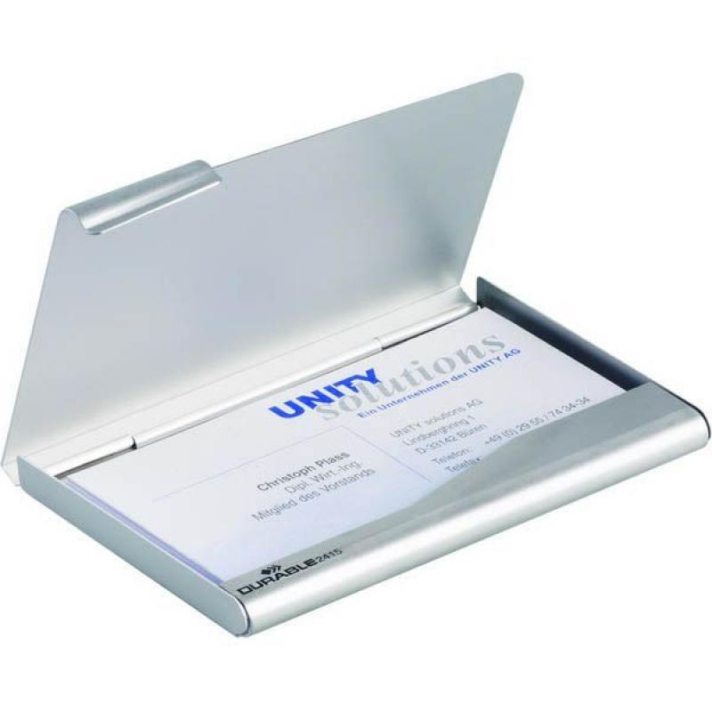 Металлическая визитница BUSINESS CARD BOX на 15 визиток, 55х90 мм, серебристая, кор с европодвесом