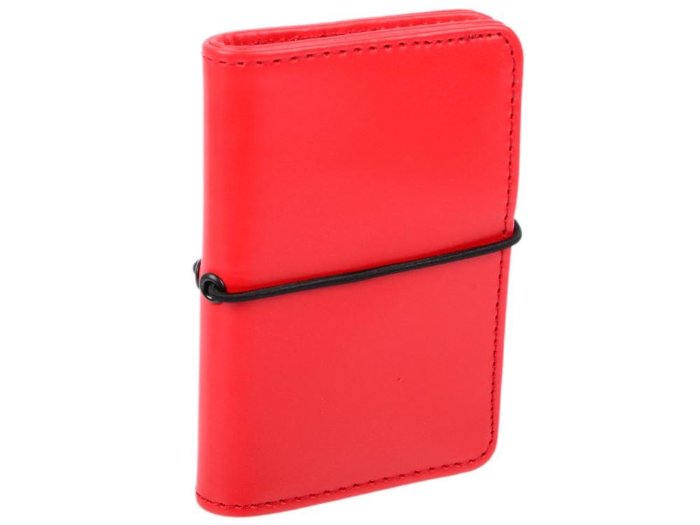 все цены на Визитница карманная на резинке, блок 20 визиток, 120х85 мм, кожзам, красная онлайн