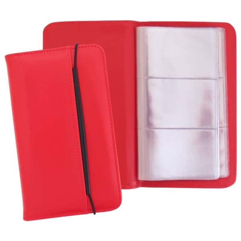 все цены на Визитница настольная на резинке, блок 96 визиток, 237х125 мм, кожзам, красная онлайн