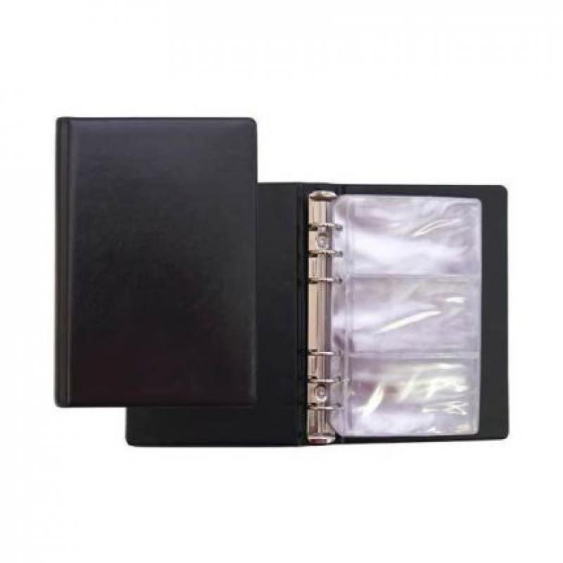 Визитница на 120 визиток на кольцах, разм.13х19 см, черная, PVC