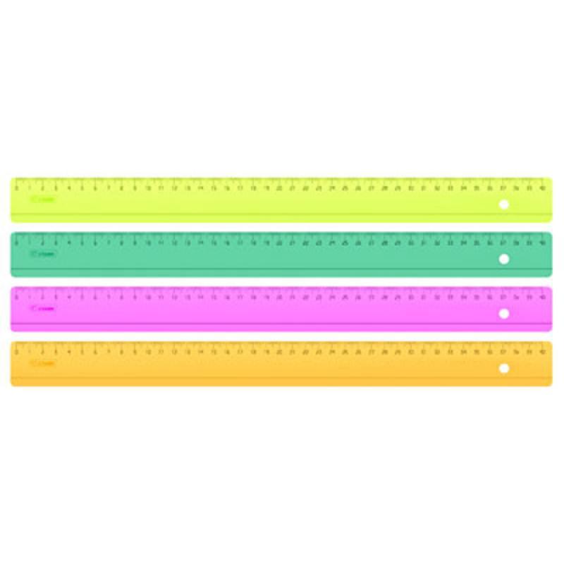 Линейка цветная, флюоресцентная, прозрачная, 4 цв., 40 см
