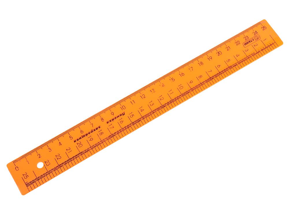 Линейка закройщика цветная, флюоресцентная, 4 цв., 25 см