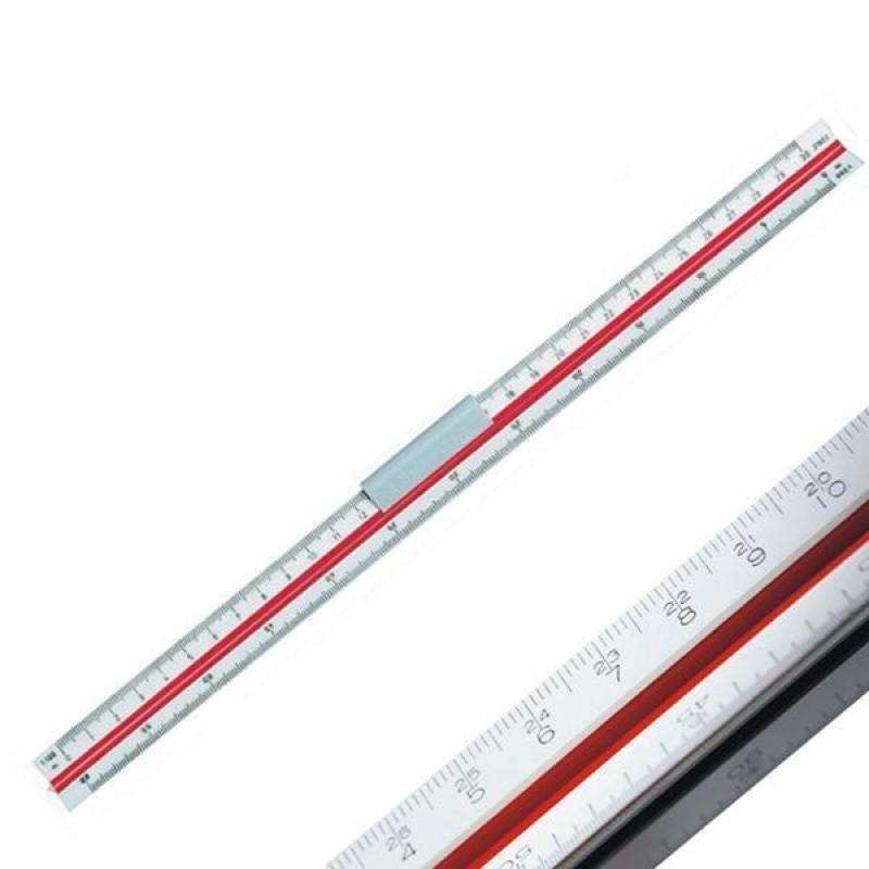 Линейка 30 см, масштабная трехгранная, 6 шкал (2:1/1:1/1:2/1:2,5/1:5/1:15), в блистере